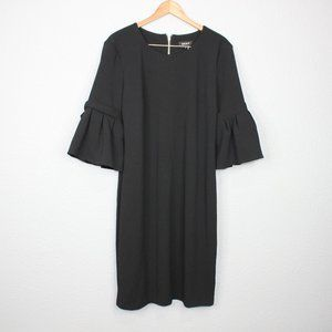 DKNY Black Ruffled Sleeve Shift Dress sz 16
